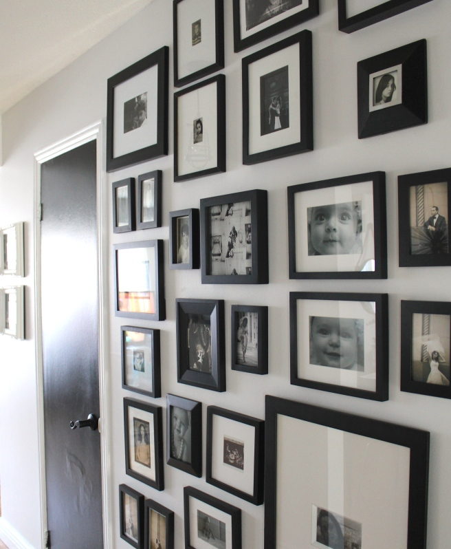 Black and white gallery hallway