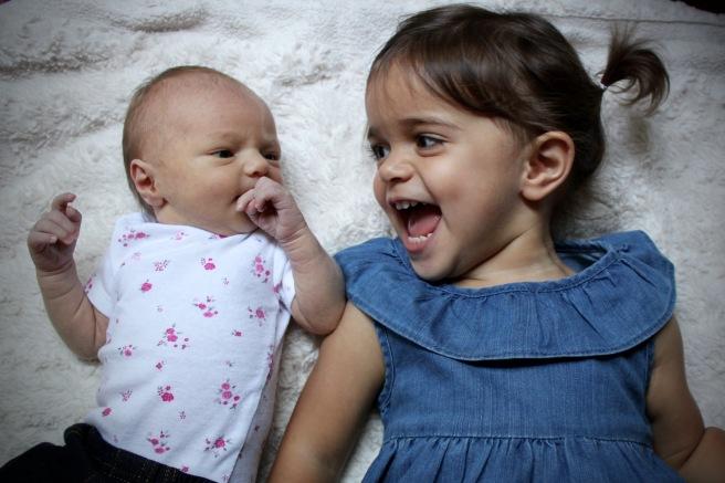 Marlowe at 1 week, Mila at 2
